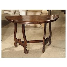17th Century Walnut Wood Console Table from Italy