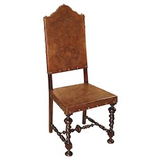 Antique Engraved Leather Side Chair from Portugal, 19th Century