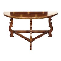 18th Century Italian Walnut Wood Demi Lune Console Table