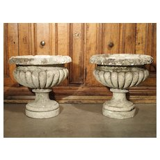 Circa 1900 Carved Vicenza Stone Vases from Italy