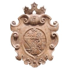 Carved Verona Rosa Marble Coat of Arms Plaque from Italy