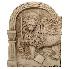 Carved Arched Marble Lion Plaque Representing the Winged Lion of Venice