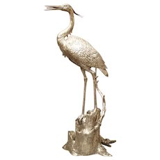 Large Silvered Heron Fountain Ornament from Italy, 20th Century