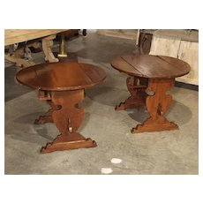Pair of Antique Walnut Drop Leaf Side Tables from Italy, Circa 1900