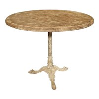 Antique Cast Iron and Pine French Bistro Table, Circa 1890