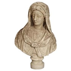 Antique Italian Plaster Bust of a Woman, Circa 1890