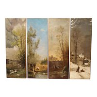 Antique French Quadriptych of The Four Seasons, Oil on Canvas, 19th Century
