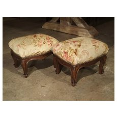 Pair of Small French Louis XV Style Footstools with Antique Aubusson Silk Fabric