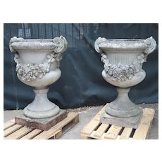 Pair of Large Antique Cast Stone Urns from Italy, Circa 1915