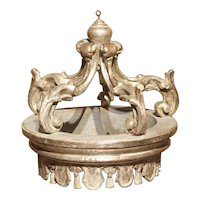 Carved and Silver Gilt Italian Bed Crown