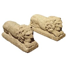 Pair of Carved Nenfro Stone Lions from Lazio Italy