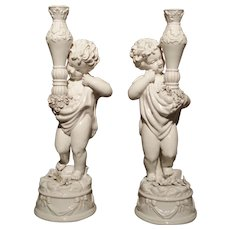 Pair of Early 1900s Italian Ceramic Cherub Candle Holders
