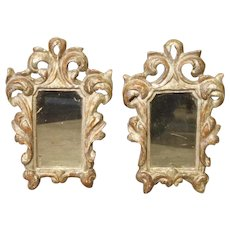 Pair of Small 19th Century Italian Silver Gilt Mirrors