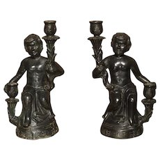 Pair of Antique Patinated Bronze Figural Candlestick Holders from Italy, Circa 1850