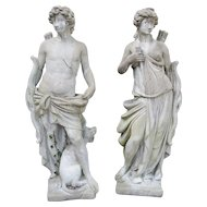 Pair of 20th Century French Statues Representing Apollo and Diana