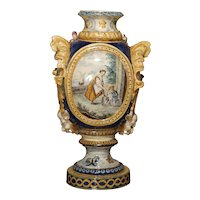 Antique Italian Majolica Vase, Circa 1880