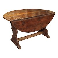 Antique Chestnut Wood Drop Leaf Table from Italy, Circa 1790