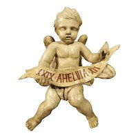 Antique Painted Winged Cherub Statue, 18th Century