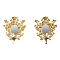 Pair of Antique Giltwood Mirrored Sconces from Italy, Circa 1880