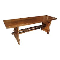 Antique Walnut Refectory Table from the Tuscan Mountain Region, 18th Century
