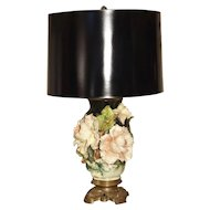 Antique Gros Relief French Barbotine Lamp, Circa 1880