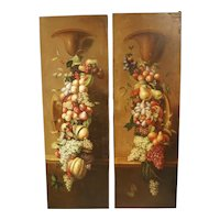 Pair of Tall Antique Italian Still Life Paintings, Circa 1900