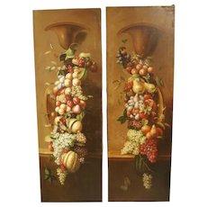 Pair of Tall Antique Italian Still Life Paintings, Circa 1900