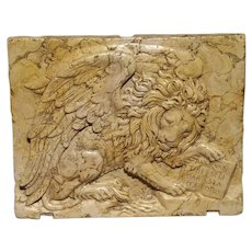 Venetian Marble Plaque-The Winged Lion of Venice