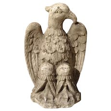 Carved Northern Italian Limestone Eagle Statue, 20th Century