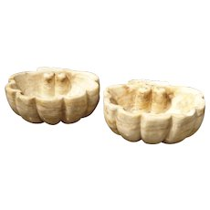 Pair of Carved Breccia Rosa Antigua Marble Shell Basins from Italy