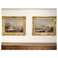Pair of Antique French Winter Scene Paintings. Albert Lenoir, 1851