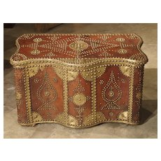 Shaped Leather Bound Trunk with Decorative Brass Nailheads and Plating, North Africa, Circa 1950