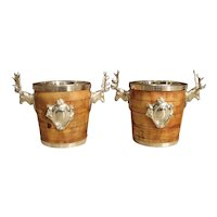 Pair of Silverplate and Wood Wine Coolers with Mounted Stags and Cartouches