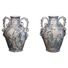 Pair of Antique Italian Blue and White Vases, Naples, Circa 1890