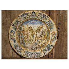 Large Antique Hand Painted Majolica Platter from Italy Circa 1860