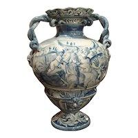 Blue and White Albisola Savona Vase, Mid 20th Century