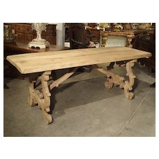 Stripped Antique Tuscan Oak Dining Table, Late 19th Century