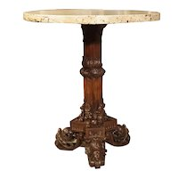 Antique Circular Genoese Carved Wood and Marble Table, Circa 1820