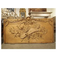 Magnificent Bas Relief French Overdoor in Oak, Circa 1750