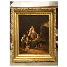 Blessings of Home and Harvest, Antique Oil on Canvas Painting, Late 19th Century