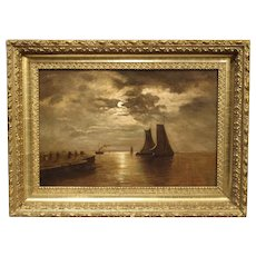 Small Antique Moonlight Marine Painting, Oil on Canvas, 1913