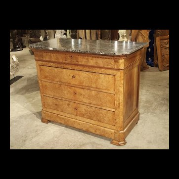 Period French Louis Philippe Commode in Burled Blonde Walnut, Circa 1840