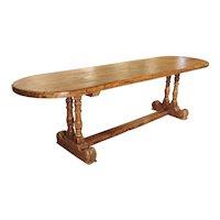 Antique French Single Plank Oak Farm Table, 19th Century