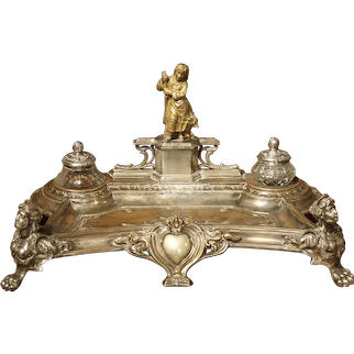 Circa 1900 Silvered Brass and Gilt Encrier with Shepherdess and Monogram