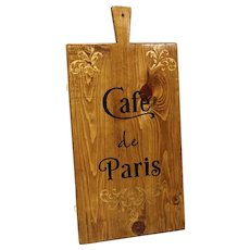 """Cafe de Paris"" Hand-Painted Wooden Cheese Board"