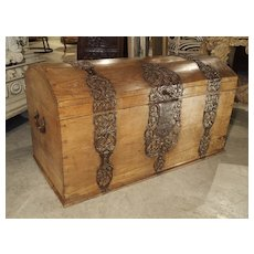 Large Domed Oak German Baroque Trunk with Decorative Iron Strapwork, Circa 1700