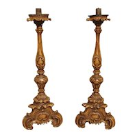 Superb Pair of Finely Carved 18th Century French Candlesticks