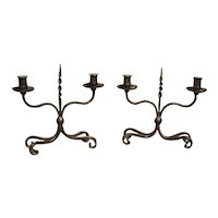 Pair of Early 1900s Forged Iron Candleholders from France