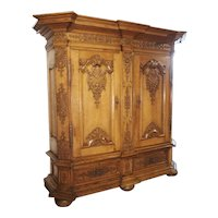 A Stunning Period Regence Armoire in Carved Oak, France, Circa 1720