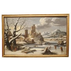 Large 17th Century Dutch Winter Scene Painting in Giltwood Frame